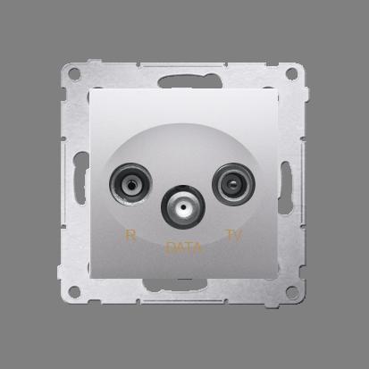 Gniazdo antenowe R-TV-DATA tłum.:10dB srebrny mat, metalizowany