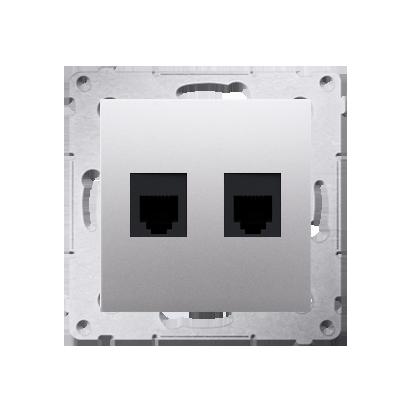 Gniazdo telefoniczne podwójne RJ12 (moduł) srebrny mat, metalizowany