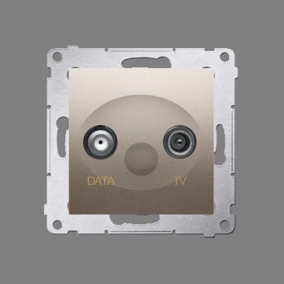 Gniazdo antenowe TV-DATA tłum.:5dB złoty mat, metalizowany