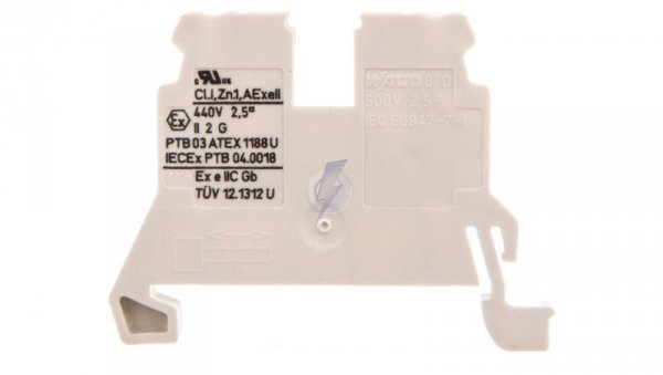 Złączka szynowa 2-przewodowa 2,5mm2 Ex jasnoszara 870-909