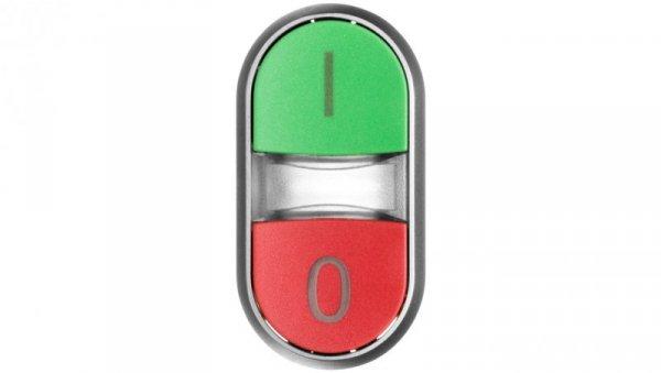 Napęd przycisku podwójnego 22mm zielony /I/ i czerwony /O/ z podświetleniem plastikowy IP69k Sirius ACT 3SU1031-3AB42-0AK0