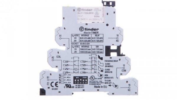 Przekaźnikowy moduł sprzęgający 6,2mm MasterTIMER wielofunkcyjny (AI DI GI SW BE,CE,DE,EE) 1P 6A 24VAC/DC 39.91.0.024.0060