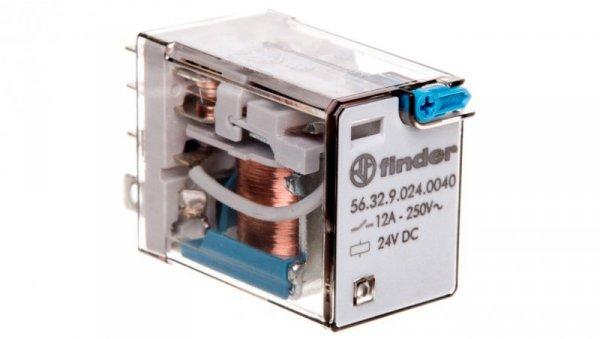 Przekaźnik 2P 12A 24V DC przycisk testujący, mechaniczny wskaźnik zadziałania 56.32.9.024.0040