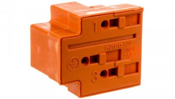 Wtyk rozgałęźny 3-torowy 2,5mm2 2x L, 1x PE pomarańczowy 730-113  /50szt./