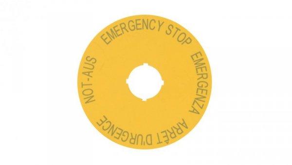 Tabliczka opisowa żółta okrągła fi90 EMERGENCY STOP M22-XAK1 216465