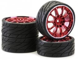 Koła Low Profil Worm red chrom Ansmann Racing 4 szt.