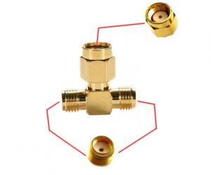 Przejście trójnik rozgałęźnik - RP-SMA plug - 2x SMA jack - adapter 1 szt