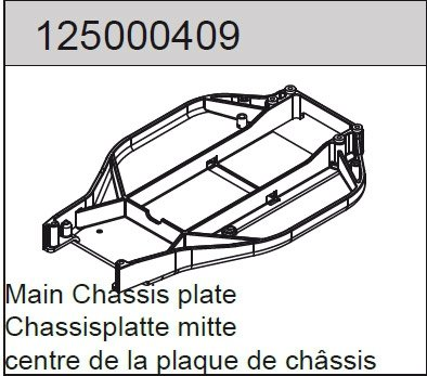 """Center chassis plate """"long"""" 2WD"""