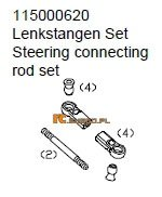 Steering cennecting rod set - Ansmann Virus
