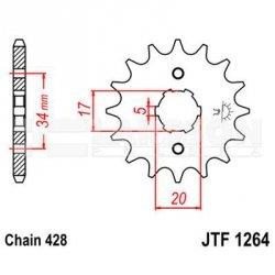 Zębatka przednia JT F1264-15, 15Z, rozmiar 428 2201089 Honda CBR 125