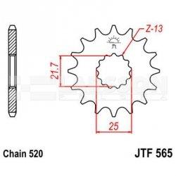 Zębatka przednia JT F565-12 SC, RAC 12Z, rozmiar520 2201221 Yamaha YZ 450