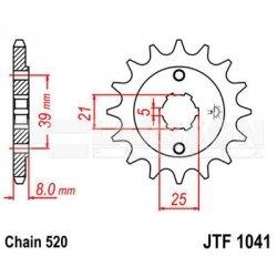 Zębatka przednia JT F1041-14, 14Z, rozmiar 520 2201086 Kymco Mxer 150