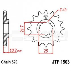 Zębatka przednia JT F1503-12, 12Z, rozmiar 520 2201074 Kawasaki KFX 250