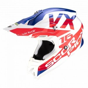 SCORPION KASK OFF-ROAD VX-16 AIR X-TURN WHITE-RED