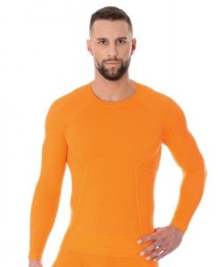 Brubeck LS12820 Koszulka męska z długim rękawem ACTIVE WOOL pomarańczowy