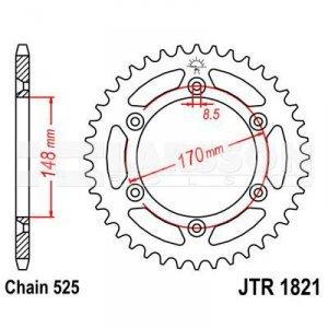 Zębatka tylna stalowa JT 1821-47, 47Z, rozmiar 525 2300711 Suzuki DR 800