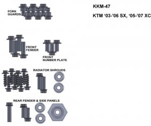 ZESTAW ŚRUB KEITI DO KTM 03-06 SX 05-07 XC
