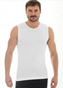 Brubeck SL10160 Koszulka męska bez rękawów COMFORT WOOL kremowy