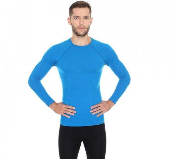 BRUBECK koszulka ACTIVE WOOL męska niebieski