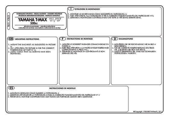GIVI TB51 OPARCIE PASAŻERA YAMAHA T-MAX 500 (01>07)
