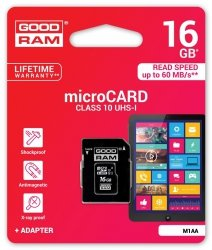 GOODRAM Karta Pamięci Micro SDHC 16GB Class 10 UHS-I + Adapter