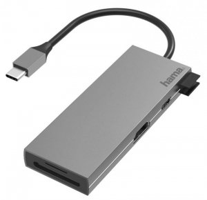 Hub USB Hama multiport USB-C 2xUSB-A 3.2,1xTYP-C,1xHDMI + czytnik