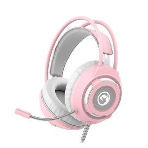 Słuchawki z mikrofonem Marvo HG8936 dla dziewczyny, pastelowy róż