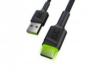 Kabel USB - USB-C 120cm z zielonym podświetleniem LED i obsługą szybkiego ładowania Ultra Charge, QC 3.0 Green Cell