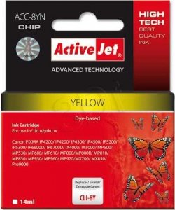 Tusz yellow do Canon (zastępuje Canon CLI-8Y)(chip) ActiveJet AC-8YN