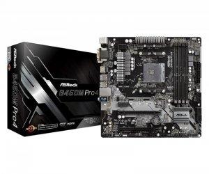 Płyta ASRock B450M Pro4 /AMD B450/4xDDR4/SATA3/M.2/USB3.0/PCIe3.0/AM4/mATX