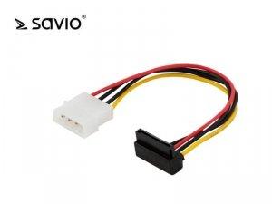 Kabel zasilający Molex 4pin M - SATA 15 pin F Kątowy Savio AK-11
