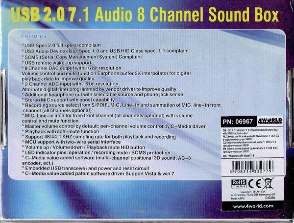 Zewnętrzna 8-kanałowa karta dźwiękowa tył pudełka