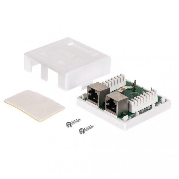 Gniazdo kompletne natynkowe 2xRJ45 8p8c FTP Cat5e LSA