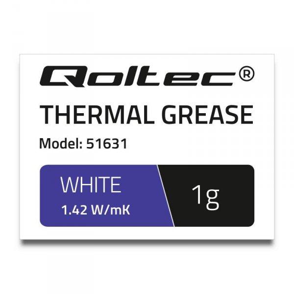 Pasta termoprzewodząca Qoltec 1.42 W/m-K   1g   Biała