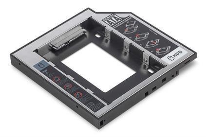 Ramka Digitus SSD/HDD do CD/DVD/Blu-ray, SATA na SATA, 12,7mm
