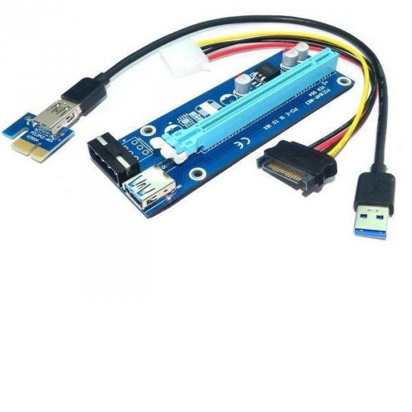 Karta rozszerzeń Riser Qoltec PCI-E 1x-16x   USB 3.0   SATA/IDE MOLEX 4pin
