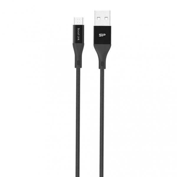 SILICONPOW SP1M0ASYLK30AB1K Silicon Power Kabel microUSB - USB, Boost Link LK30AB Nylon, 1M, 2.4A, Czarny