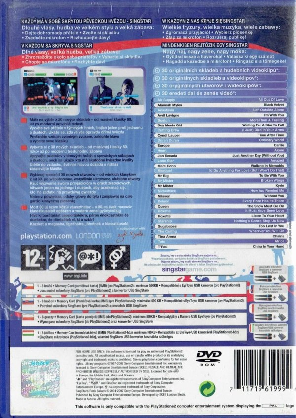 SINGSTAR ROCK BALLADS      PS2