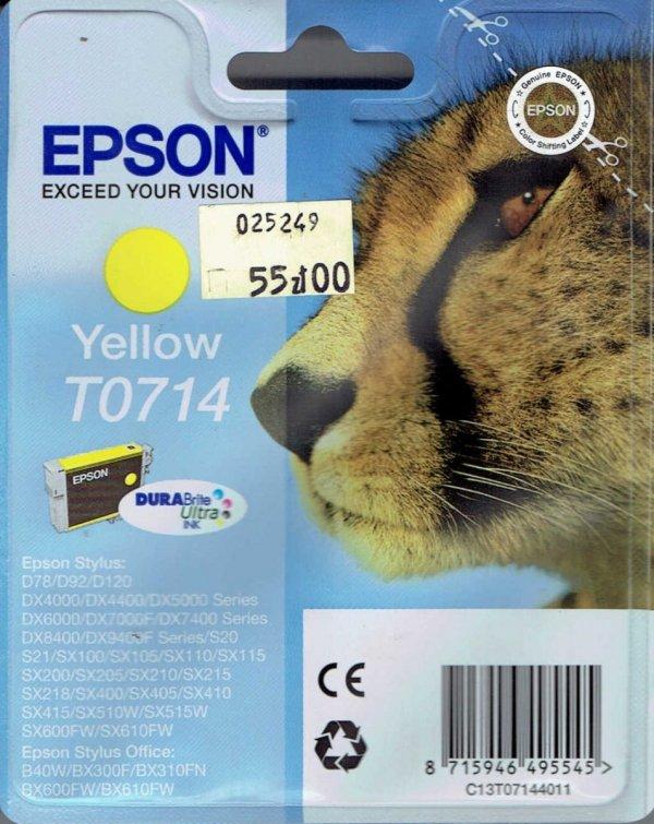 Tusz T0714 yellow Epson Stylus D78 D92 DX4000 DX 6000 5.5ml okładka