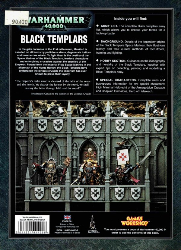 W40k Codex Black Templars tył okładki