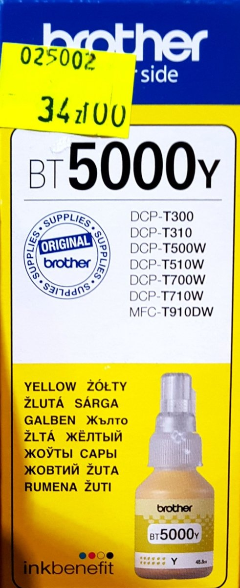 Tusz Brother BT5000Y Yellow