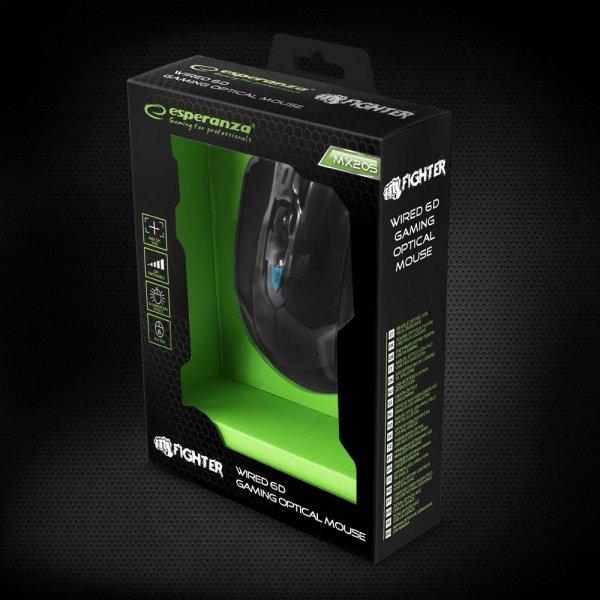 ESPERANZA EGM205B MYSZ PRZEWODOWA DLA GRACZY 6D USB MX205 - FIGHTER - NIEBIESKA