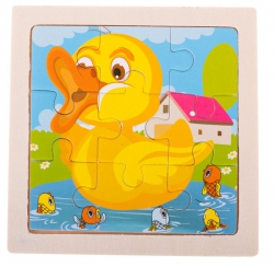 Puzzle drewniane układanka kaczka 9 el. 11x11 cm