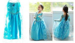 Kostium Elsa Kraina Lodu niebieska sukienka 120cm