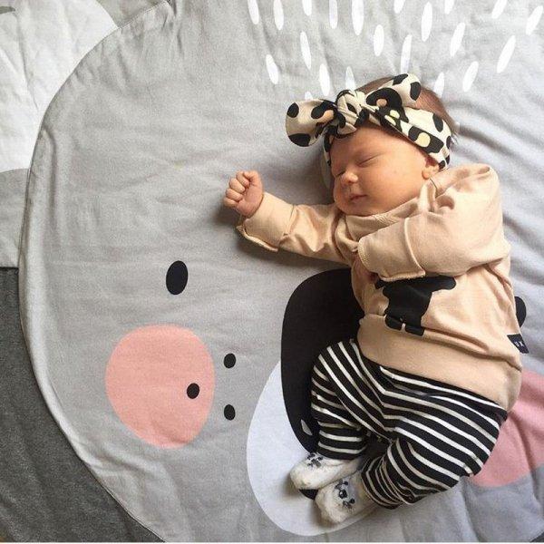 Mata dla dziecka okrągła szara koala 90cm