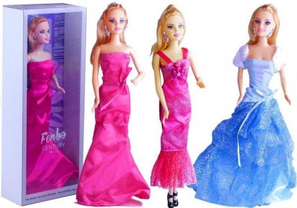 Lalka w Sukni Wieczorowej 3 Rodzaje Niebieski Róż
