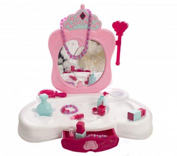 Toaletka różowa ze światłami i z lustrem