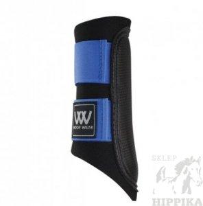 Ochraniacze WOOF WEAR CLUB czarne z niebieskim rzepem