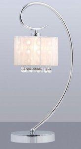 ITALUX SPAN MTM1583/1 WH LAMPKA BIURKOWA GLAMOUR Z ABAŻUREM I KRYSZTAŁKAMI BIAŁA