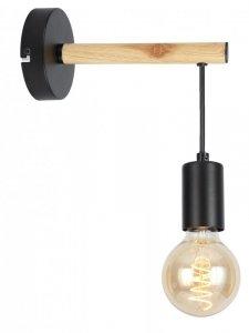 Lampa kinkiet pojedynczy czarny + drewno Izzy Candellux 21-75406